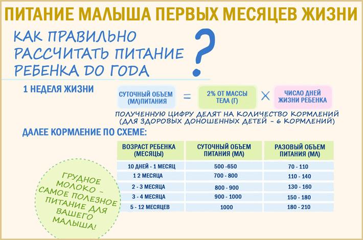 Питание ребенка по месяцам от рождения до 1 года